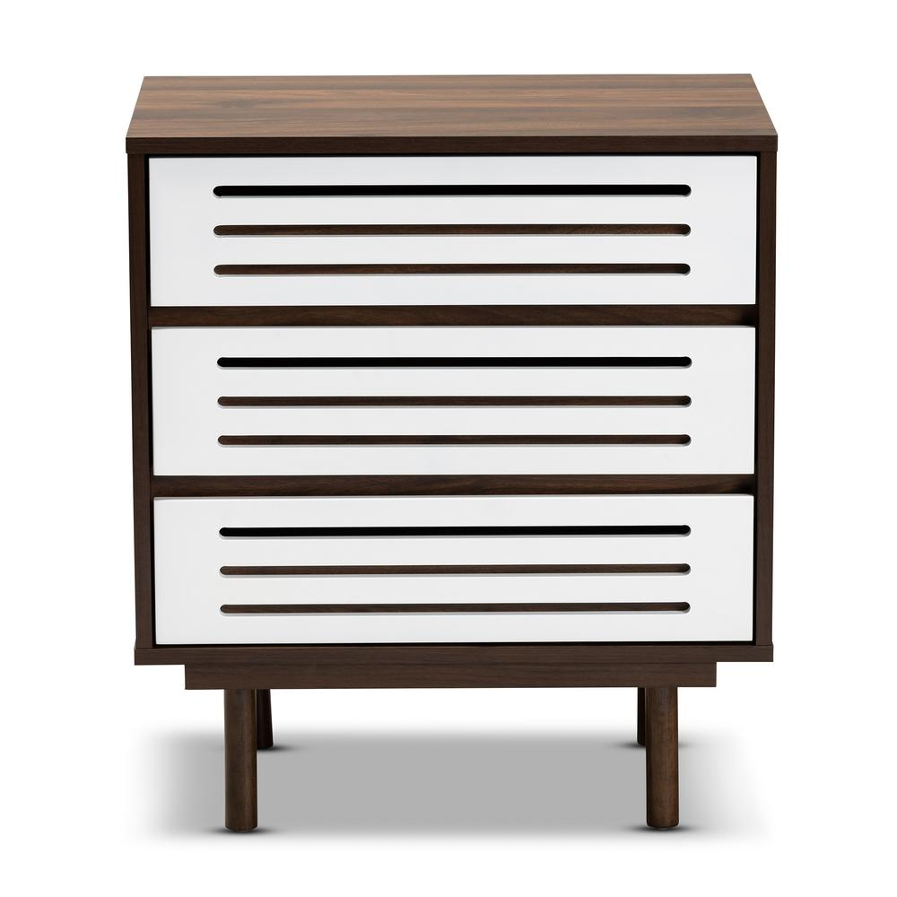 Meike 3-Drawer Walnut and White Nightstand (27 in.H x 23.6 in. W x 15.7 in. D)