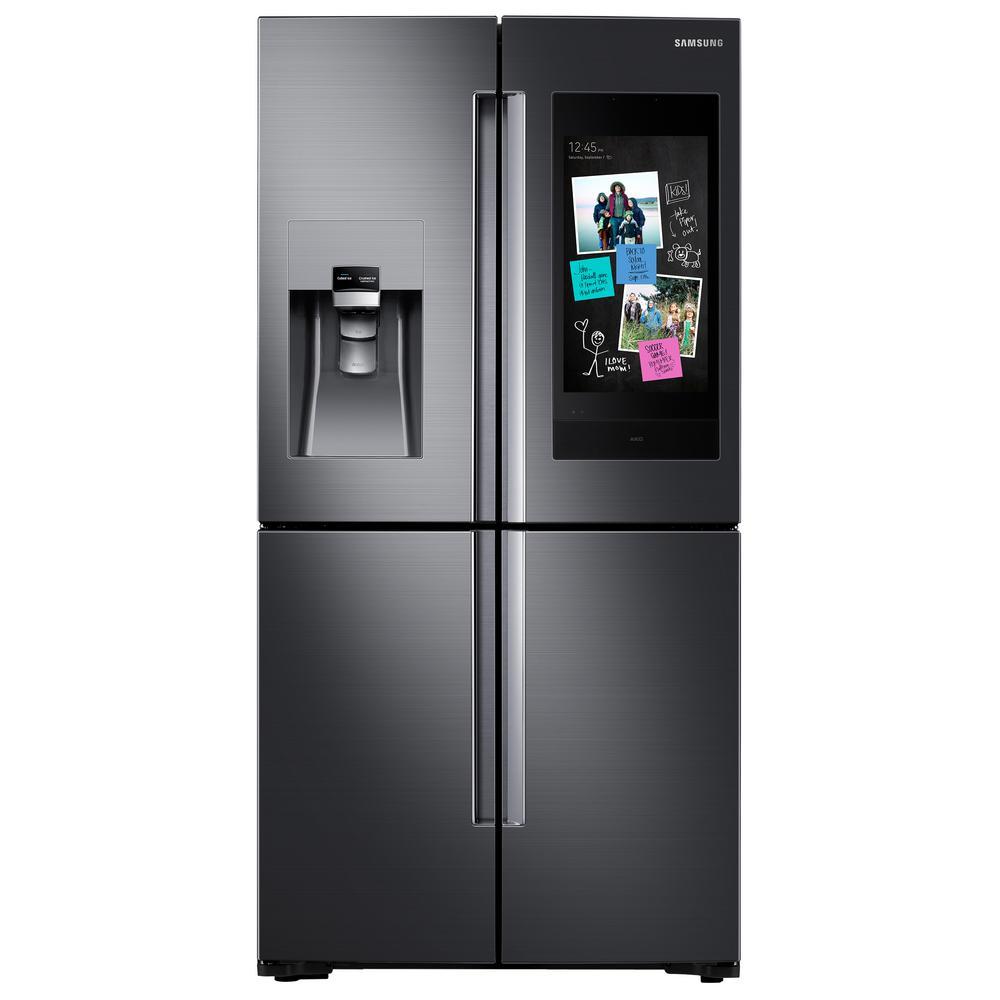 Samsung 27 9 cu  ft  Family Hub 4-Door French Door Smart Refrigerator in  Fingerprint Resistant Black Stainless