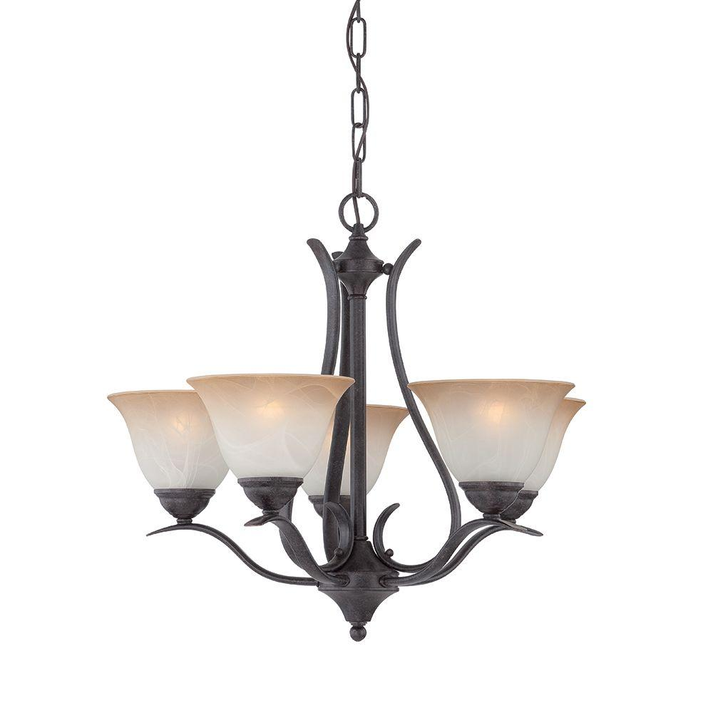 Prestige 5-Light Sable Bronze Hanging Chandelier