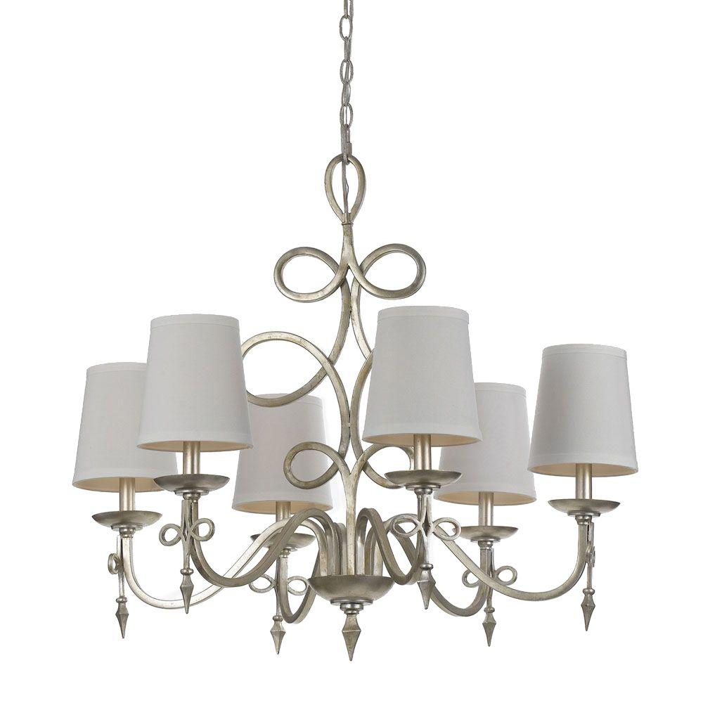 Af lighting rhythm 6 light iron chandelier with glint and white af lighting rhythm 6 light iron chandelier with glint and white shades 8431 6h the home depot arubaitofo Choice Image