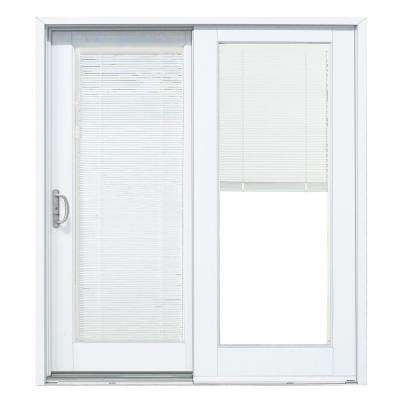 60 in. x 80 in. Woodgrain Interior and Smooth White Exterior Left-Hand Composite Sliding Patio Door with Built in Blinds