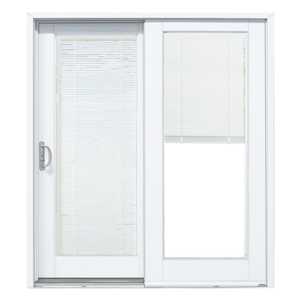 MasterPiece 60 in. x 80 in. Smooth White Left-Hand Composite DP50 Sliding Patio Door with Built in Blinds