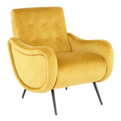 Rafael Yellow Velvet and Black Lounge Chair