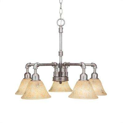 5-Light Aged Silver Chandelier with Clear Glass Shade