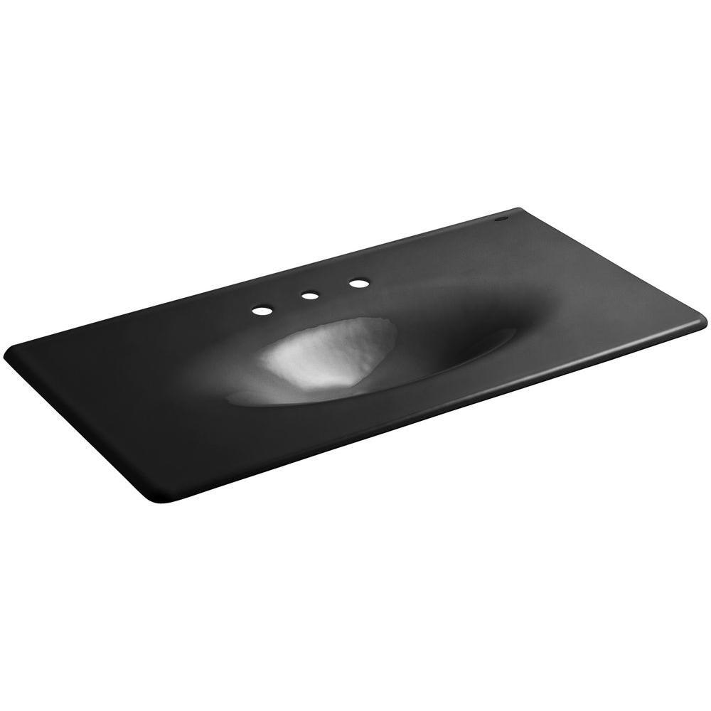 Iron/Impressions 43-5/8 in. Cast Iron Single Basin Vanity Top in Black Black with Black Black Basin