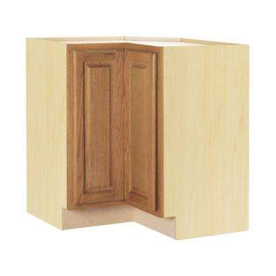 Hampton Bay Hampton Assembled 28.5x34.5x16.5 inch Lazy Susan Corner Base Kitchen Cabinet in Medium Oak by Hampton Bay