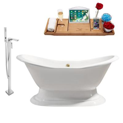 Tub, Faucet and Tray Set 72 in. Cast Iron Flatbottom Non-Whirlpool Bathtub in Glossy White