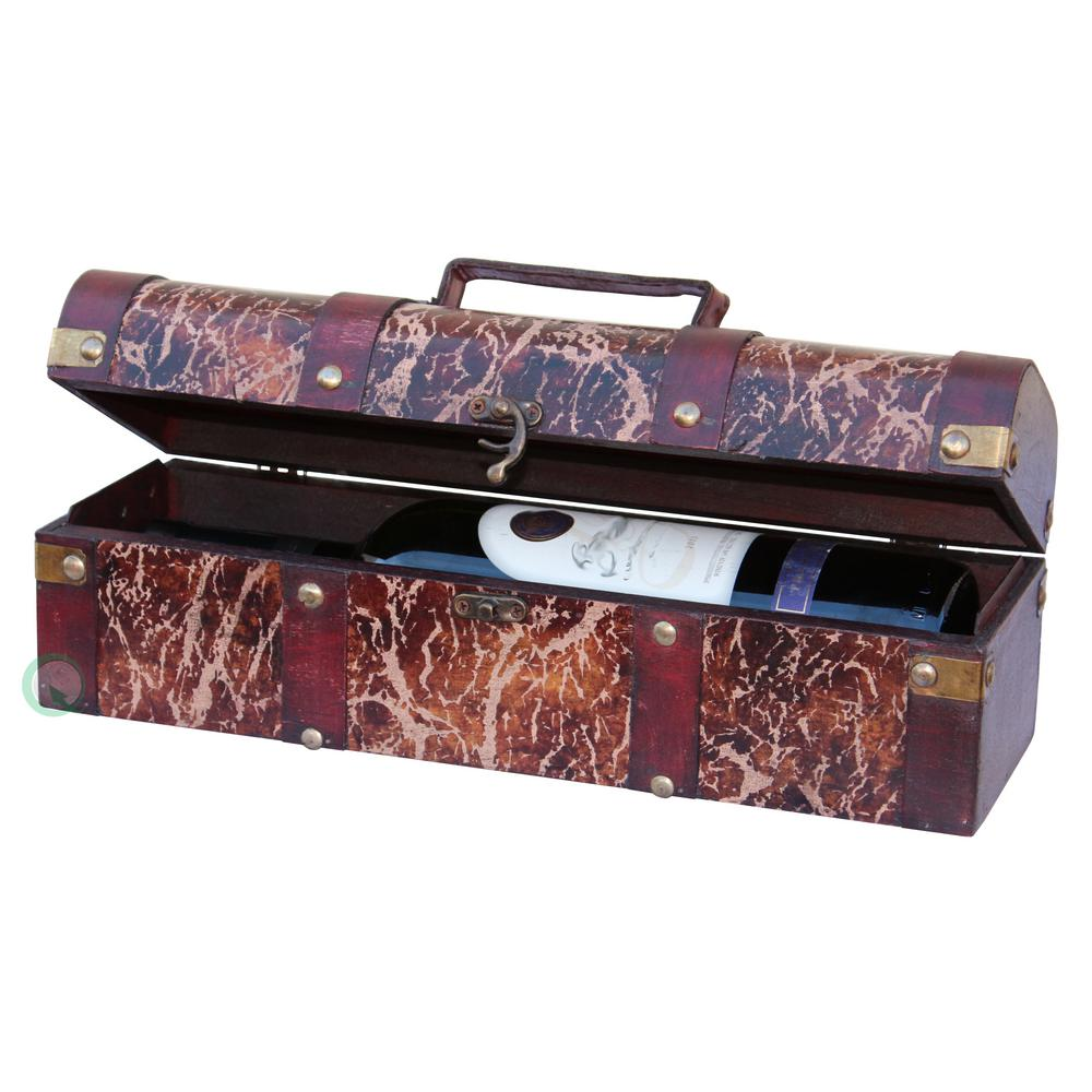 14 in. x 4 in. x 4 in. Distressed Wood Wine Box, Wine bot...