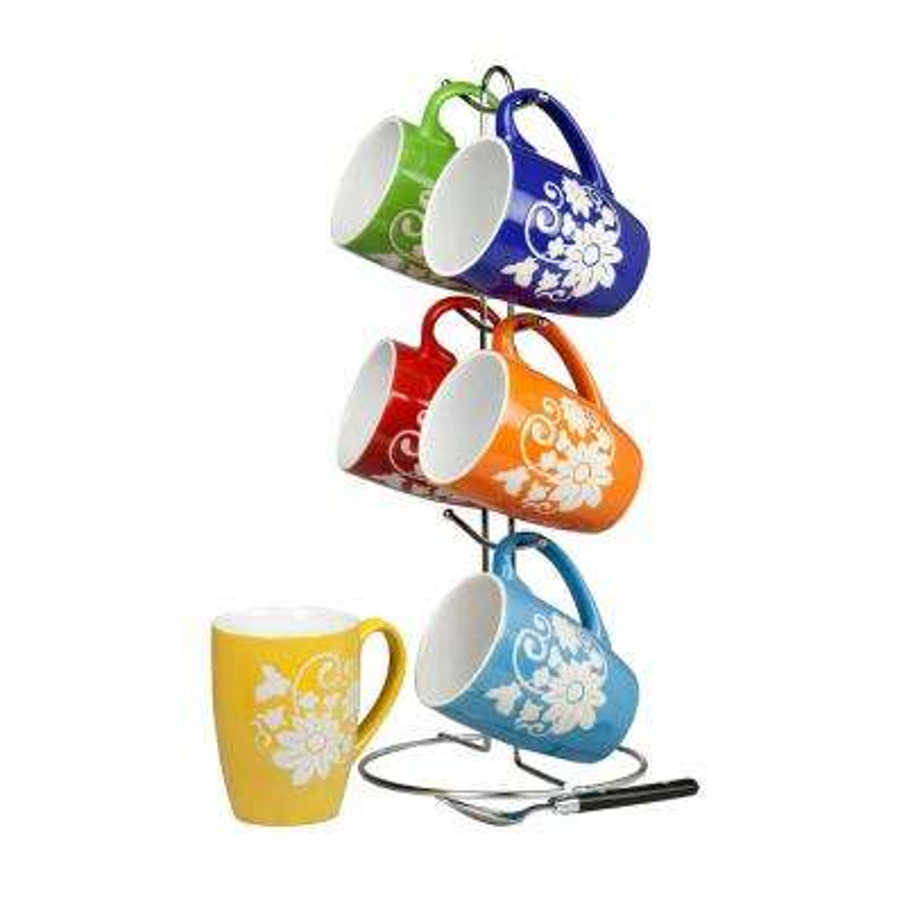 6-Piece 11 oz. Floral Mug Set with Stand