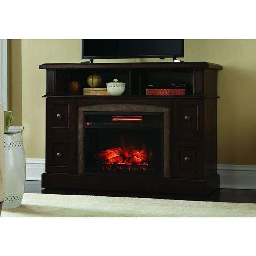 Create a stunning look in your home with Home Decorators Collection Bellevue Park Media Console Infrared Electric Fireplace in Brown Twilight Grey Finish.