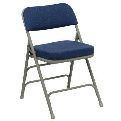 Hercules Series Premium Curved Triple Braced & Double Hinged Navy Fabric Upholstered Metal Folding Chair