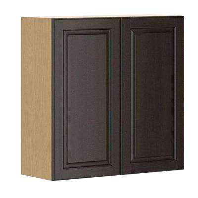 Ready to Assemble 30x30x12.5 in. Naples Wall Cabinet in Maple Melamine and Door in Dark Brown