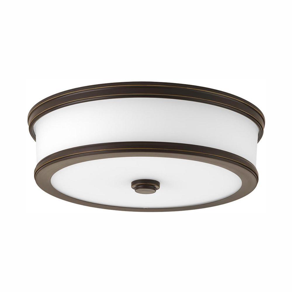 Progress Lighting Bezel LED Collection 25-Watt Antique Bronze Integrated LED Flush Mount