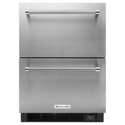 24 in. W 4.7 cu. ft. Double Drawer Freezerless Refrigerator in Stainless Steel, Counter Depth