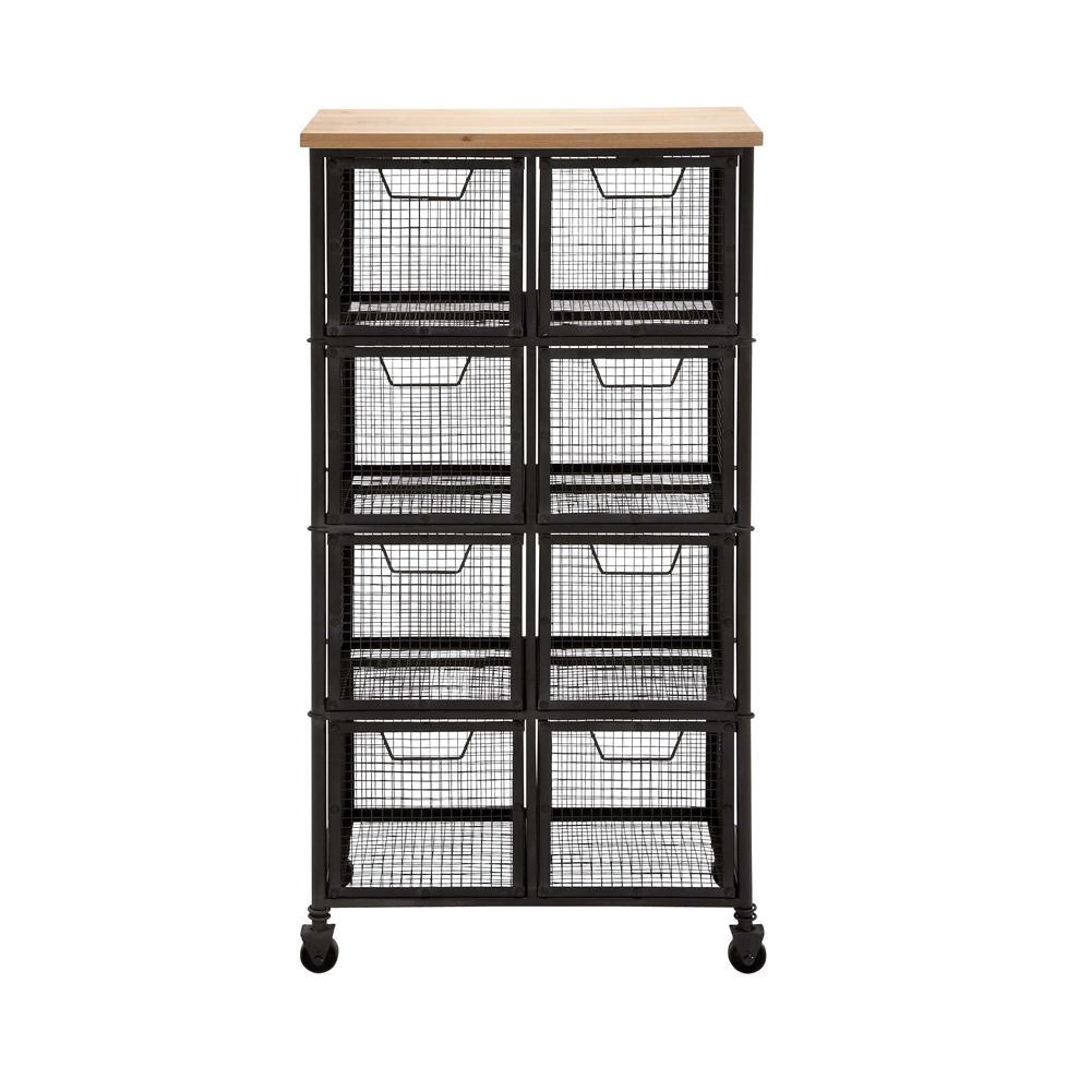 8-Drawer Metal Grid Storage Cart
