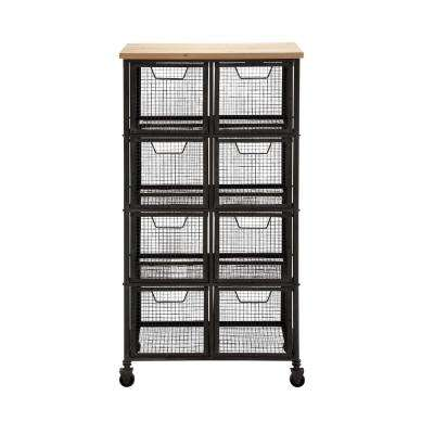 8-Drawer Metal Grid Storage Cart