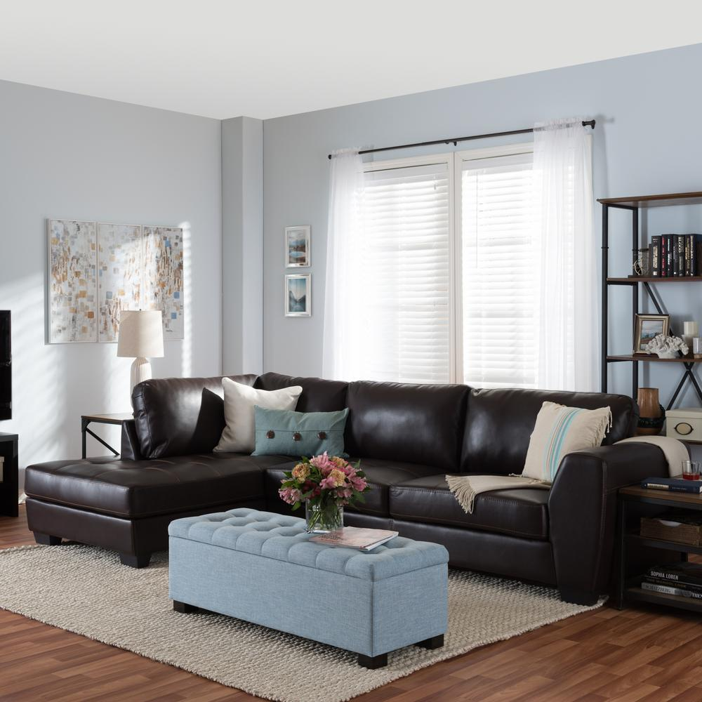 Orland 2-Piece Contemporary Brown Faux Leather Upholstere...