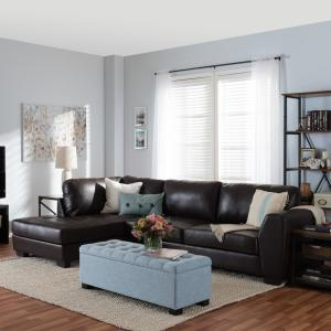 Baxton Studio Orland 2-Piece Contemporary Brown Faux Leather Upholstered Left Facing Chase Sectional Sofa by Baxton Studio