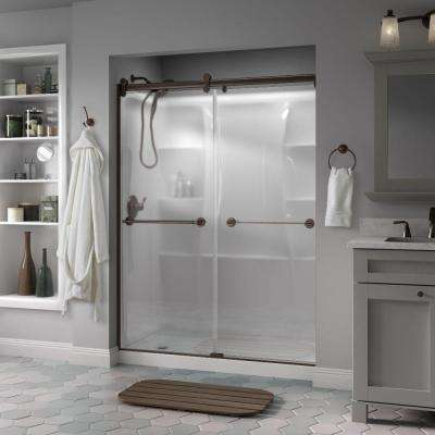 Silverton 60 in. x 71 in. Semi-Frameless Contemporary Sliding Shower Door in Bronze with Niebla Glass