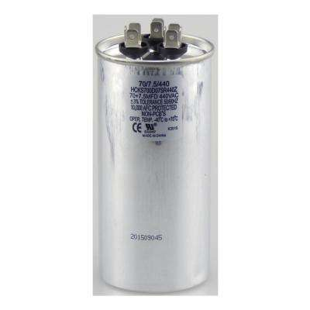 440-Volt 70/7.5 MFD Dual Rated Motor Run Round Capacitor