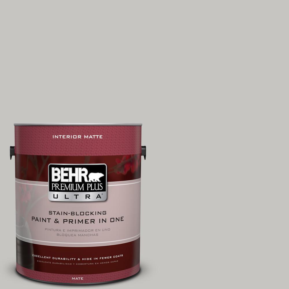BEHR Premium Plus Ultra 1-Gal. #UL260-16 Silver Sateen Interior Flat Enamel Paint