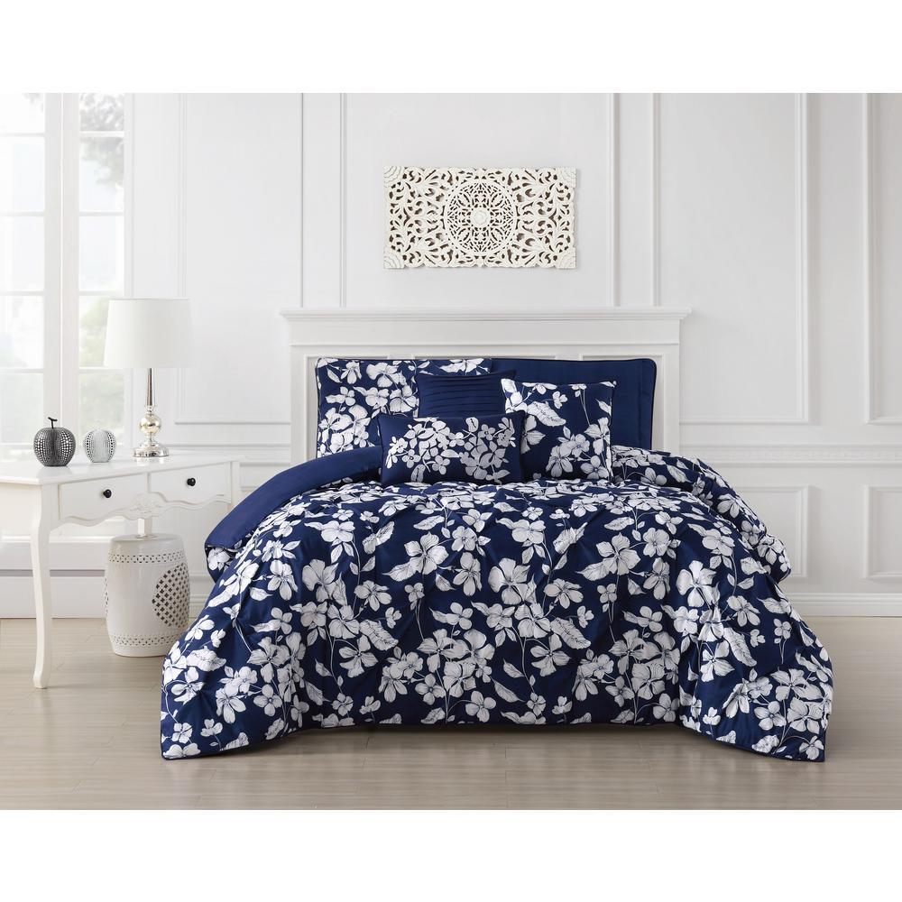 Jacqueline 6-Piece Pinch Pleat Navy Queen Comforter Set