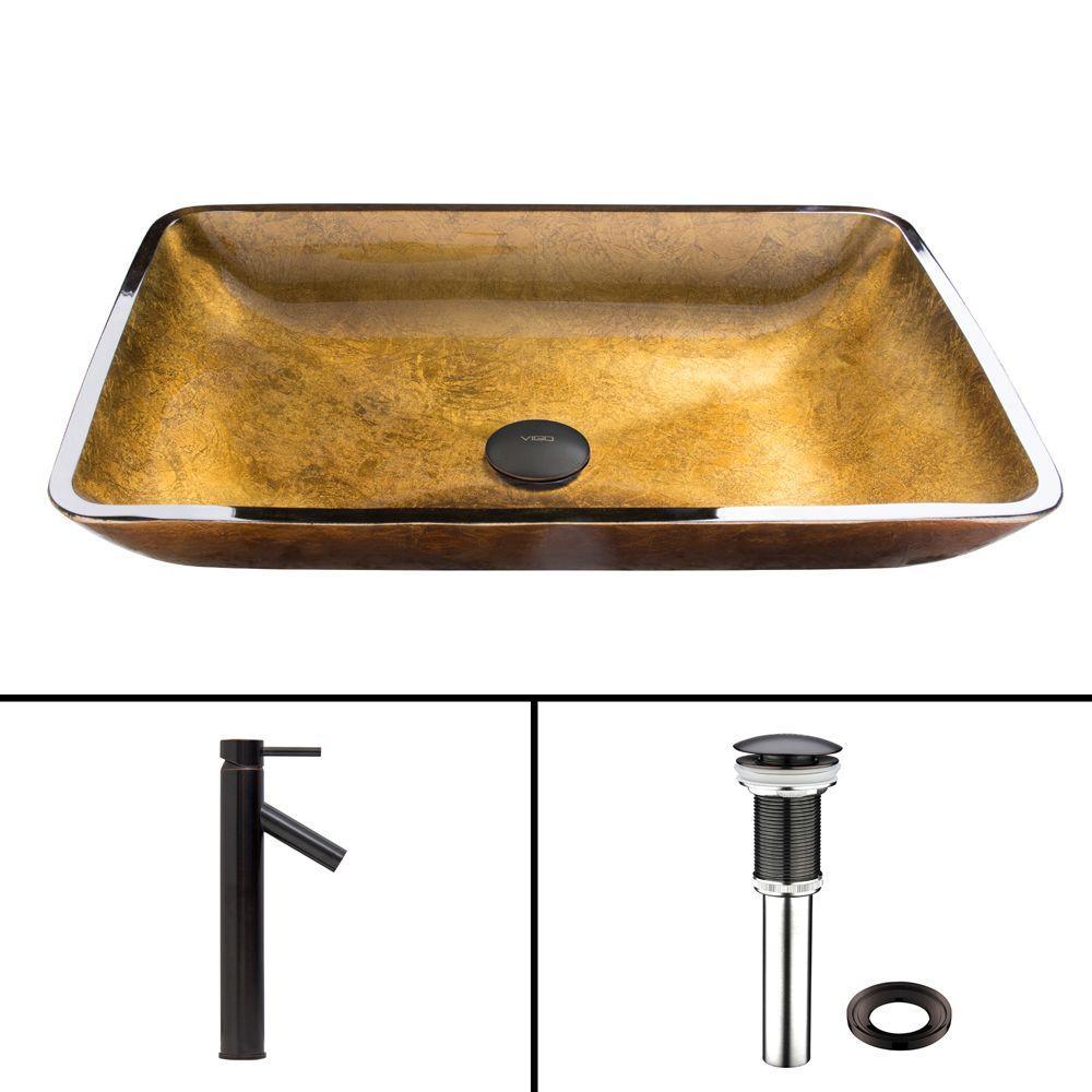 VIGO Glass Vessel Sink In Copper And Dior Faucet Set In Antique Rubbed  Bronze