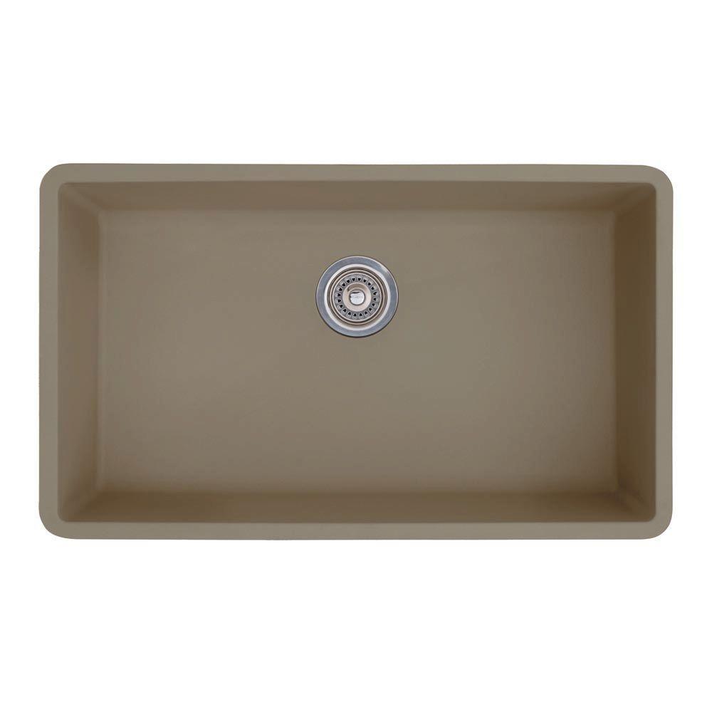 Precis Super Undermount Granite 32 in. 0-Hole Single Bowl Kitchen Sink in Truffle