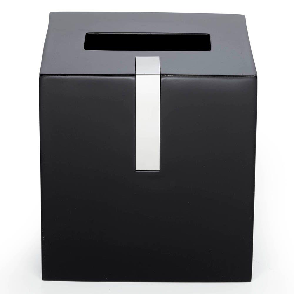 Roselli Trading Company 6 in. Tissue Box Cover in Black Resin