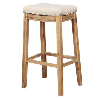 32 in. Brown and Beige Saddle Top Wooden Bar Stool with Nailhead Accents