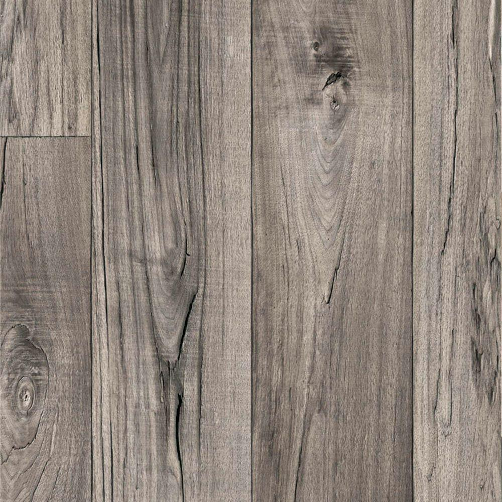TrafficMASTER Grey Weathered Oak Plank 13.2 ft. Wide Residential Vinyl Sheet x Your Choice Length