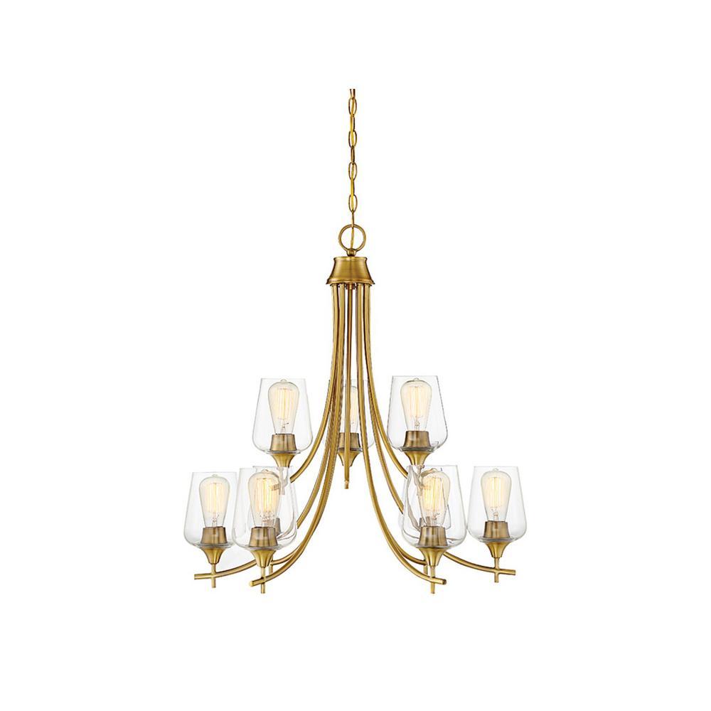 9-Light Warm Brass Chandelier