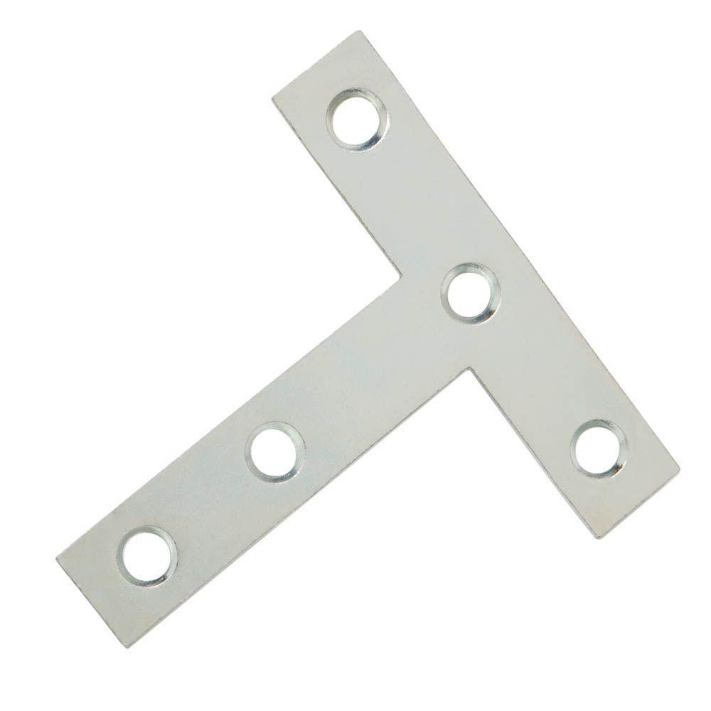 Everbilt 3 in. x 3 in. Zinc-Plated T-Plate (2-Pack)