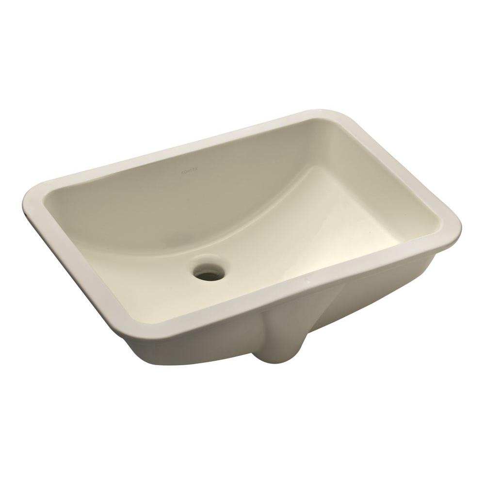 "KOHLER Ladena 20 7/8"" Undermount Bathroom Sink in Almond with Overflow Drain"