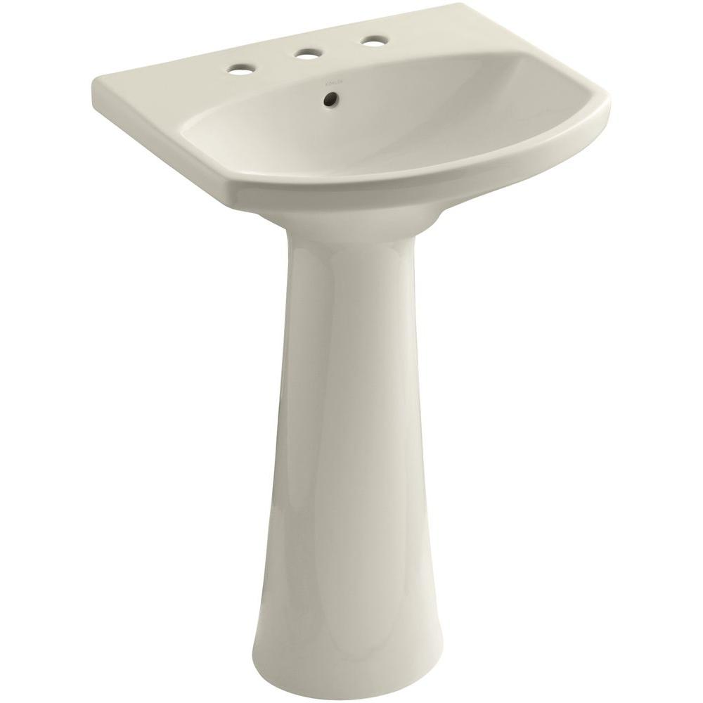 KOHLER Cimarron 8 in. Widespread Vitreous China Pedestal Combo Bathroom Sink in Almond with Overflow Drain