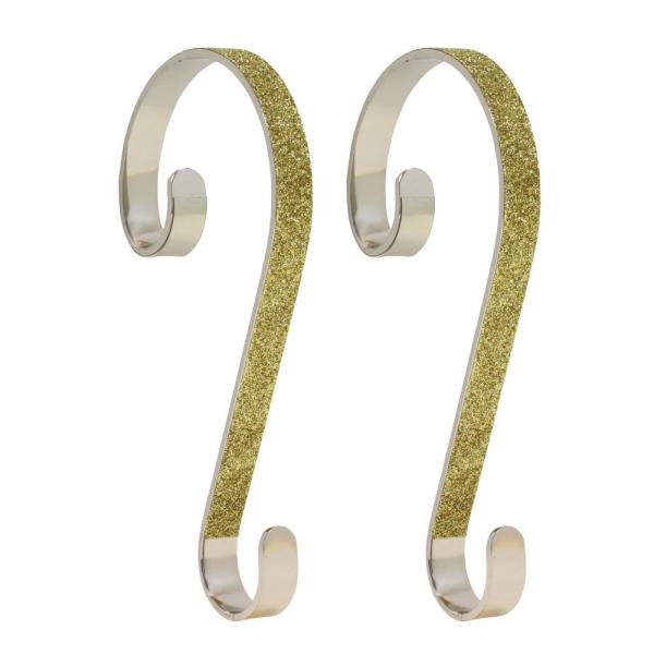 6 in. Steel Gold Glitter Stocking Scrolls Holders (2-Pack)