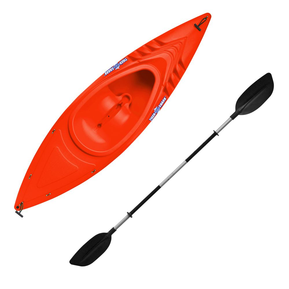 Emsco Tiger Shark Series 9 ft. Orange Sit-in Kayak with Dry-Ride Wave Breaker Design Includes 87 in. Deluxe Sport Paddle