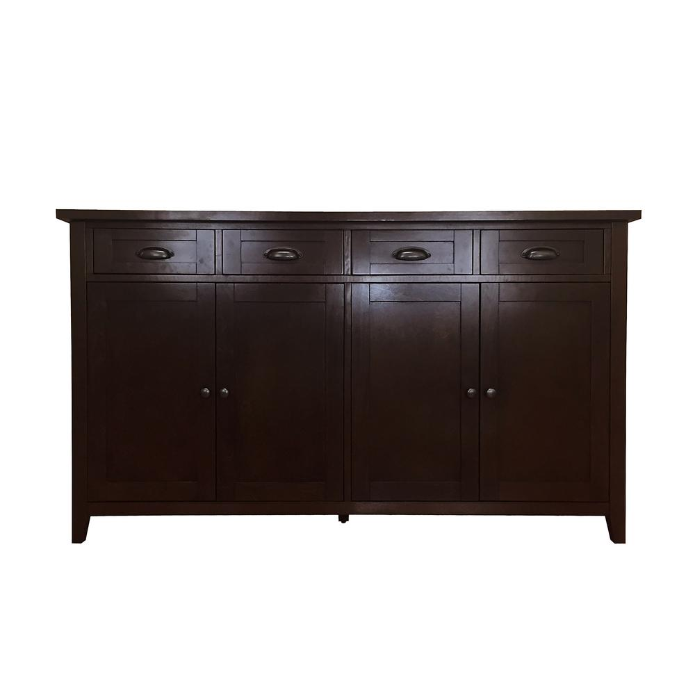 Donnieann brookdale dark walnut buffet sideboard with 4 drawers and 4 doors 809215 the home depot