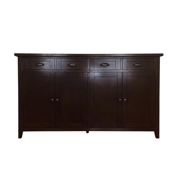 Brookdale Dark Walnut Buffet Sideboard With 4 Drawers And Doors