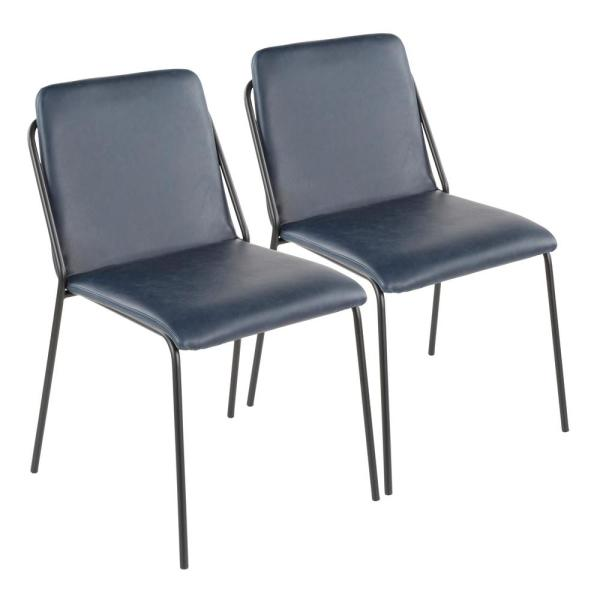 Lumisource Stefani Industrial Chair with Blue Faux Leather Upholstery (Set of