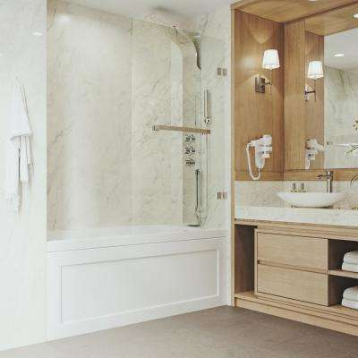 Rialto 34 in. x 58 in. Bathtub Door with .3125 in. Clear Glass and Stainless Steel Hardware