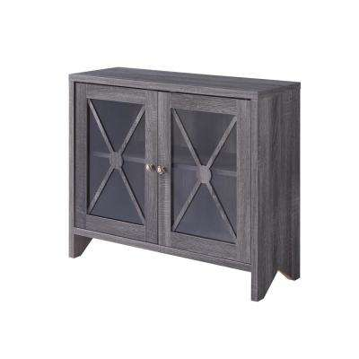 Carden Distressed Gray Accent Storage Cabinet With Glass Window-Panel Doors