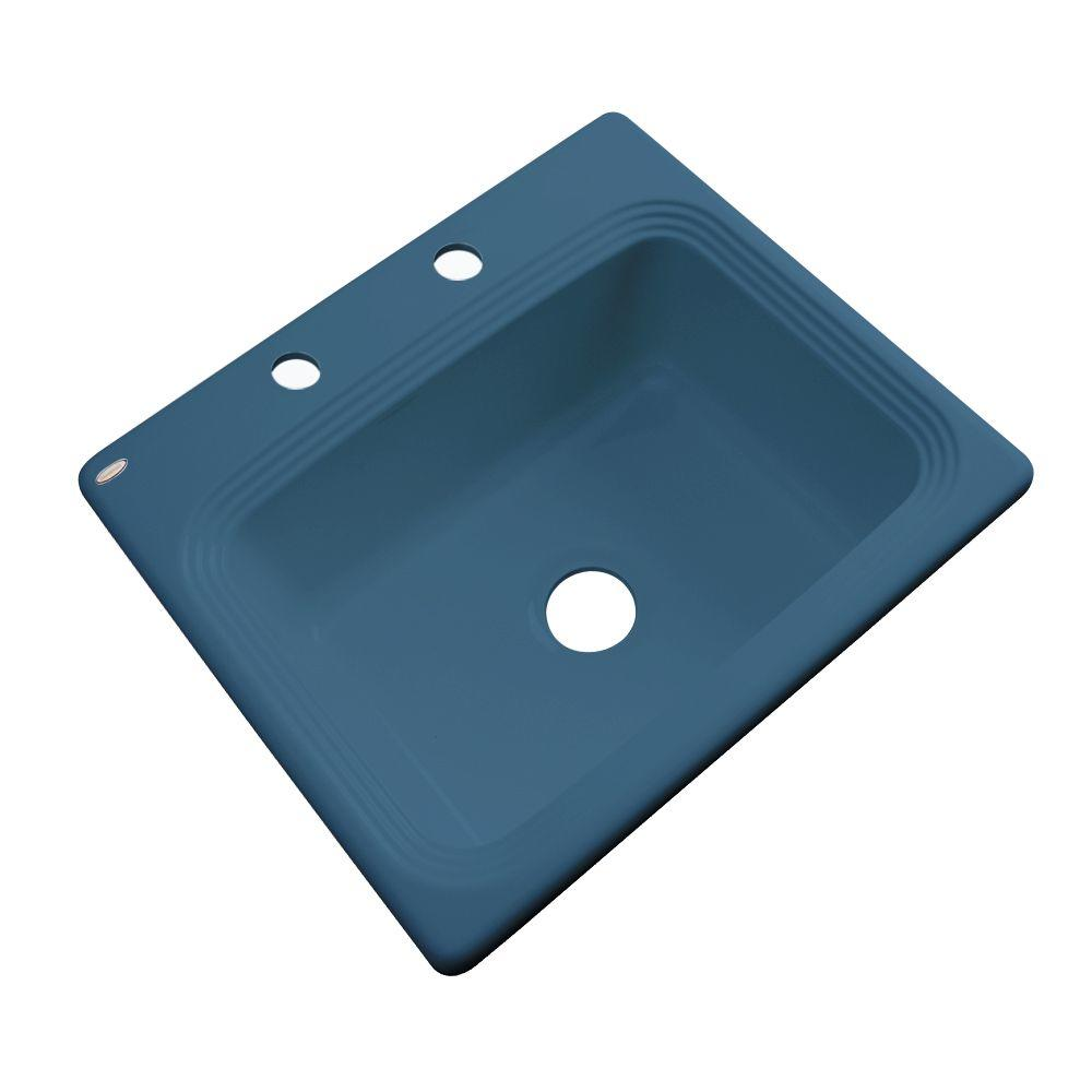 Thermocast Rochester Drop-In Acrylic 25 in. 2-Hole Single Basin Kitchen Sink in Rhapsody Blue