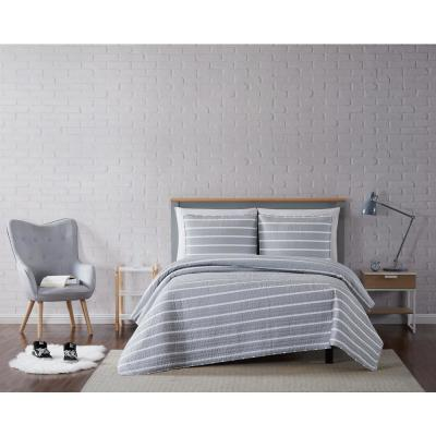 Maddow Stripe Grey King 3-Piece Quilt Set