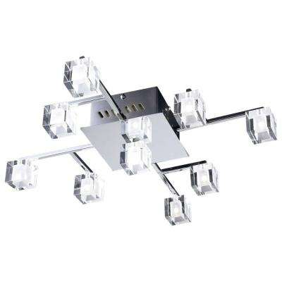 9-Light Polished Chrome and Clear Glass Flush Mount