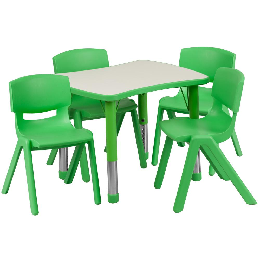 Green 5-Piece Table and Chair Set