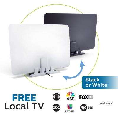 Switch Amplified HDTV Antenna Full HD 1080P 4K Ready Reversible Black and White Finish