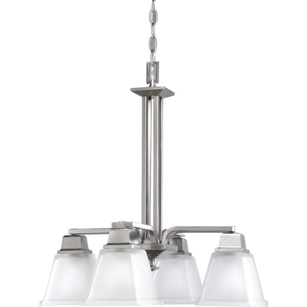 Progress Lighting North Park 4-Light Brushed Nickel Chandelier with Etched Glass Shade