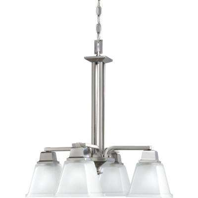 North Park 4-Light Brushed Nickel Chandelier with Etched Glass Shade