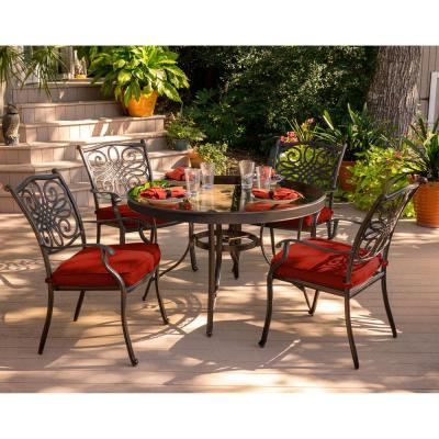 Traditions 5-Piece Metal Outdoor Dining Set with Red Cushions and Glass-Top Table